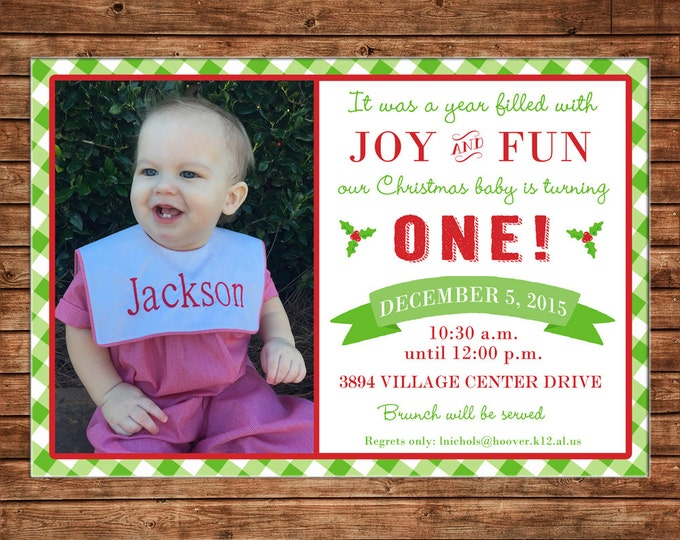 Boy or Girl Photo Invitation Christmas Birthday Party - Can personalize colors /wording - Printable File or Printed Cards