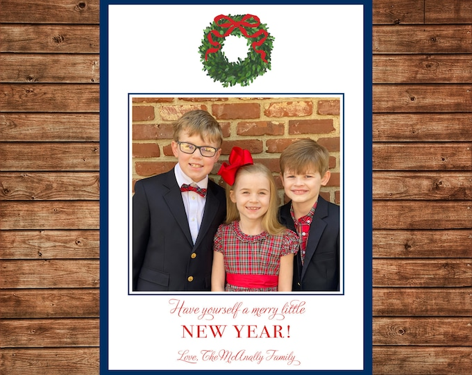 Christmas Holiday Photo Card Watercolor Boxwood Wreath - Can Personalize - Printable File