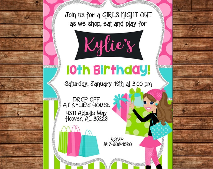 Girl Invitation Shopping Spree Girls Night Out Birthday Party - Can personalize colors /wording - Printable File or Printed Cards