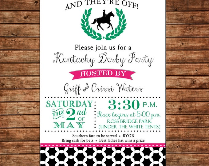 Invitation Derby Horse Roses Shower Birthday Party - Can personalize colors /wording - Printable File or Printed Cards