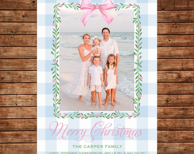 Christmas Holiday Photo Card Pink Blue Watercolor Wreath - Can Personalize - Printable File
