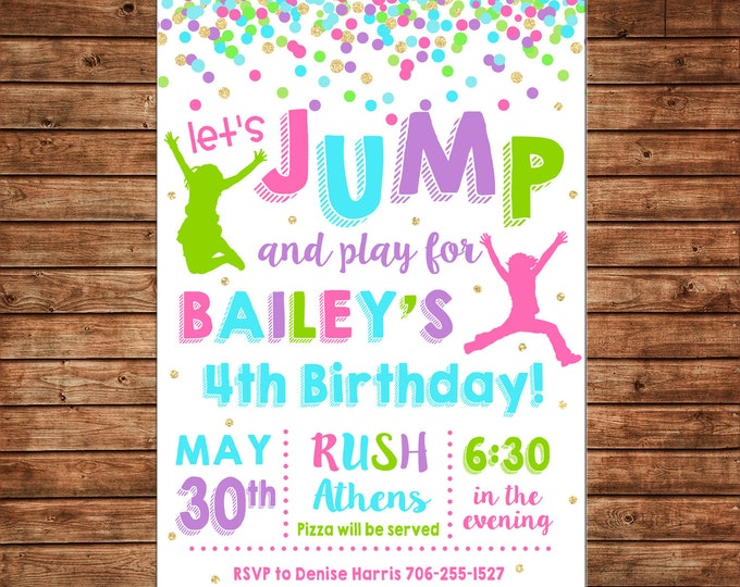 Girl Invitation Trampoline Bounce House Inflatable Birthday Party - Can personalize colors /wording - Printable File or Printed Cards