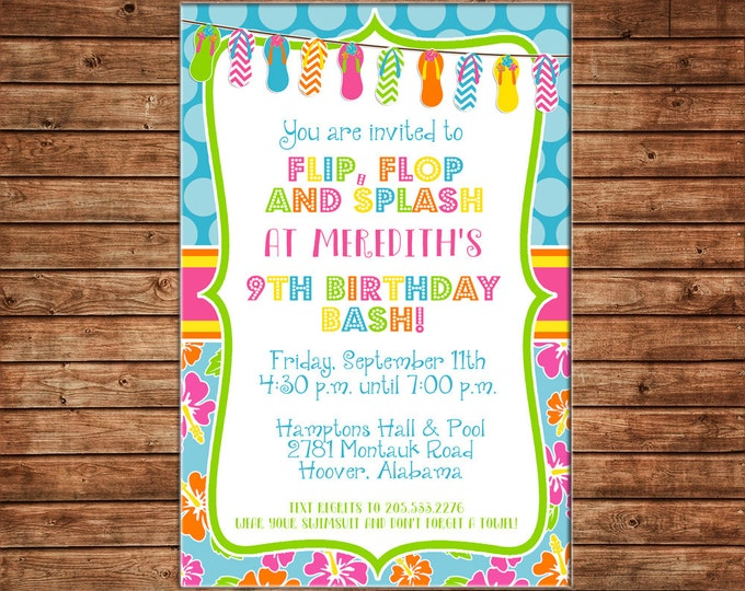 Girl Invitation Luau Hawaiian Print Flip Flops Birthday Party - Can personalize colors /wording - Printable File or Printed Cards