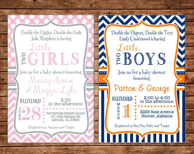 Twin Boy or Girl Invitation Baby Shower Birthday Party - Can personalize colors /wording - Printable File or Printed Cards