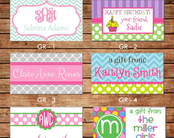 20 Rectangle Girl Enclosure Cards, Gift Stickers, Gift Tags