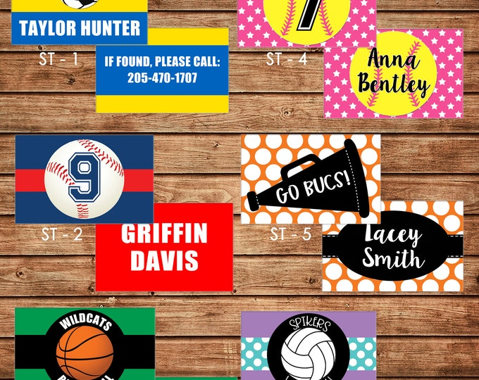 Boy or Girl Sports Personalized Luggage Bag Tag with Name, Monogram, Clipart, etc - Design your own - ONE DESIGN