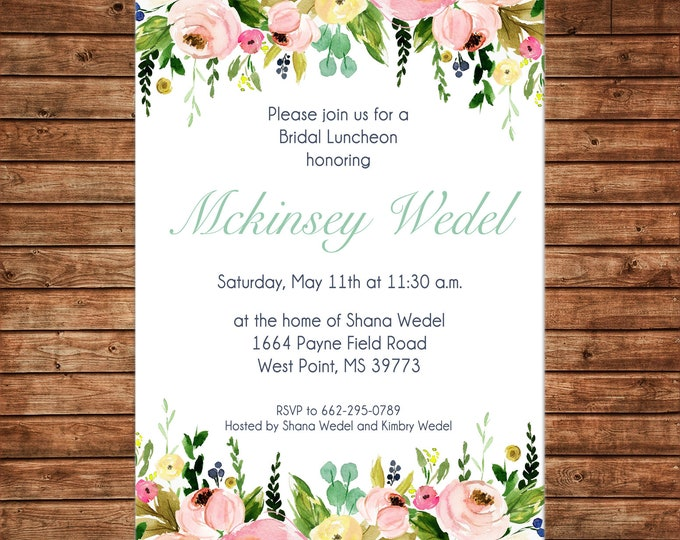 Invitation Watercolor Floral Shower Birthday - Can personalize colors /wording - Printable File or Printed Cards