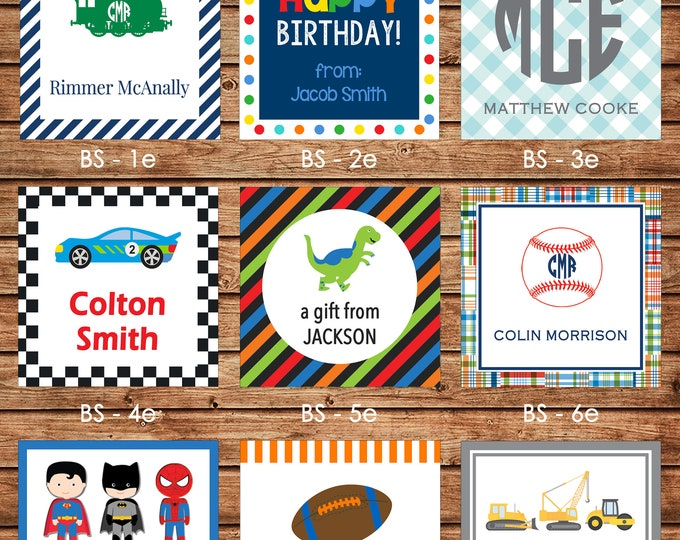 24 Square Boy Enclosure Cards, Gift Stickers, Gift Tags