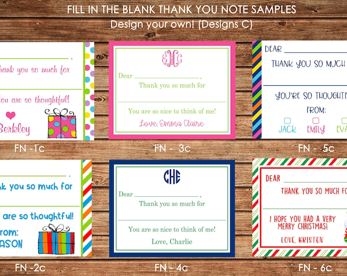 Personalized Fill In The Blank Thank You Note Cards with Envelopes - Design your own - ONE DESIGN