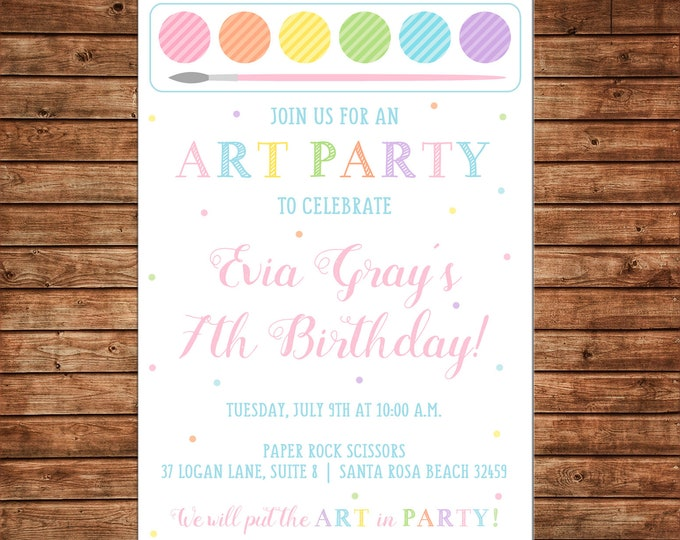 Girl Invitation Paint Painting Palette Art Artist Birthday Party - Can personalize colors /wording - Printable File or Printed Cards