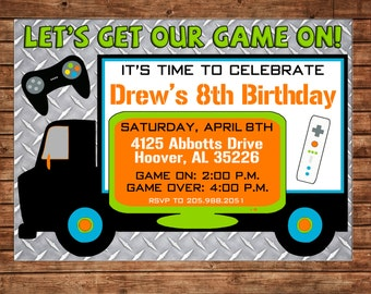 Video game birthday party invitation gamer theme invitation etsy boy or girl invitation video game truck birthday party can personalize colors wording printable file or printed cards stopboris Image collections