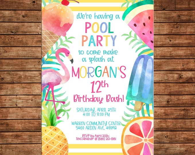 Invitation Watercolor Tropical Hawaiian Summer Pool Luau Party - Can personalize colors /wording - Printable File or Printed Cards
