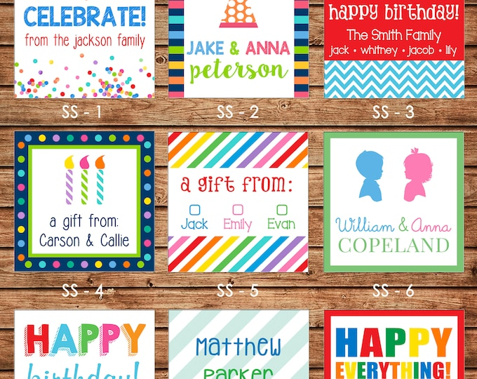 24 Square Personalized Sibling Family Kids Enclosure Cards, Gift Stickers, Gift Tags