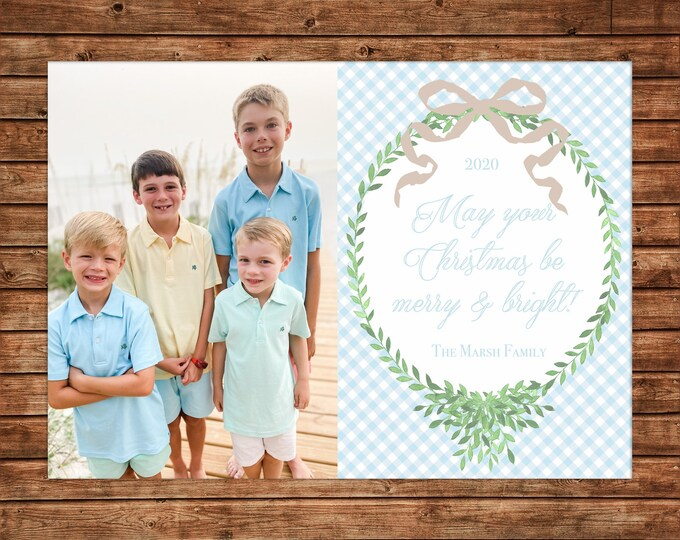 Christmas Holiday Photo Card Blue Gingham Watercolor Wreath Bow - Can Personalize - Printable File