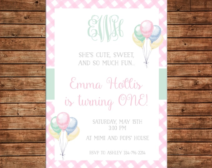 Girl Invitation Watercolor Balloon Balloons Monogram Gingham Birthday - Can personalize colors /wording - Printable File or Printed Cards