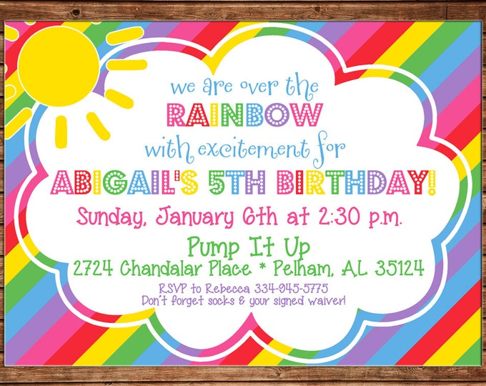Girl Invitation Rainbow Stripe Clouds Sun Birthday Party - Can personalize colors /wording - Printable File or Printed Cards
