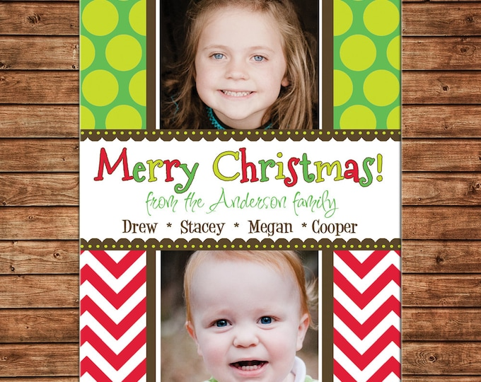 Christmas Holiday Photo Card Polka Dot Chevron - Can Personalize - Printable File or Printed Cards