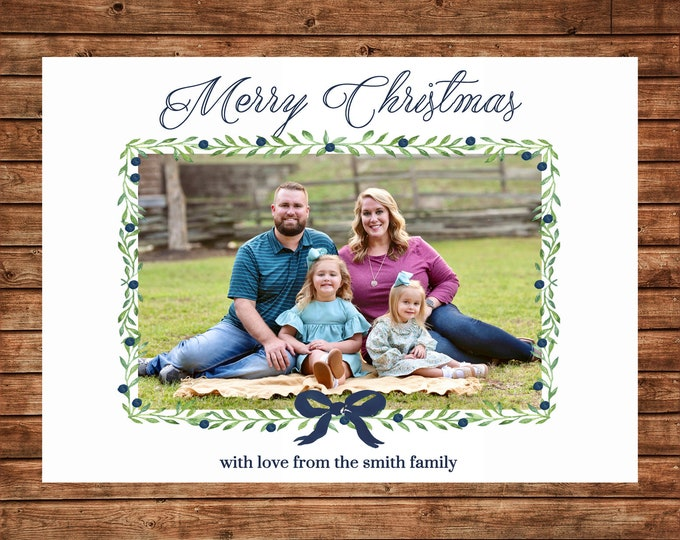 Christmas Holiday Photo Card Navy Watercolor Wreath - Can Personalize - Printable File
