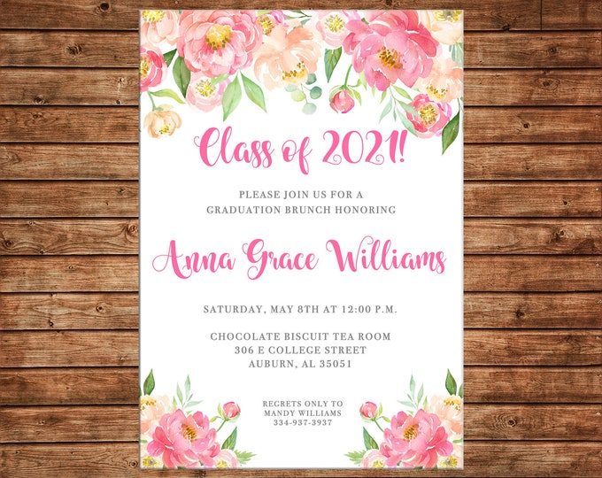 Girl Invitation Graduation Party Brunch Watercolor Flowers - Can personalize colors /wording - Printable File or Printed Cards