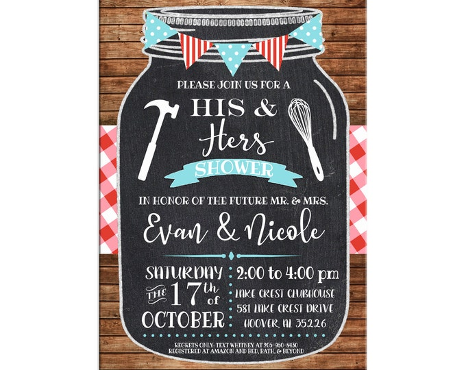 Invitation Mason Jar Chalkboard Red Gingham His Hers Shower Party - Can personalize colors /wording - Printable File or Printed Cards