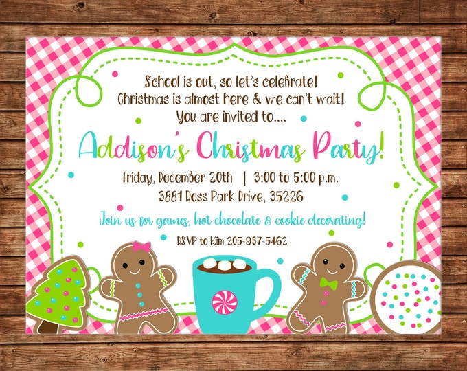 Christmas Invitation Girl Party Cookies Hot Cocoa Birthday - Can personalize colors /wording - Printable File or Printed Cards