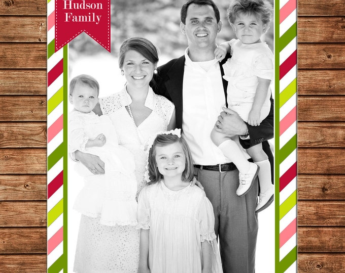 Christmas Holiday Photo Card Elegant Stripe - Can Personalize - Printable File or Printed Cards