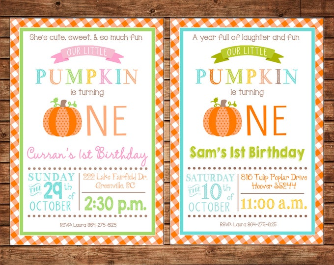 Boy or Girl Invitation Little Pumpkin One Halloween Birthday Party - Can personalize colors /wording - Printable File or Printed Cards