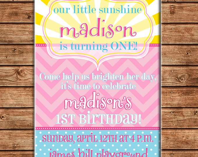 Girl Invitation You are my Sunshine Birthday Party - Can personalize colors /wording - Printable File or Printed Cards