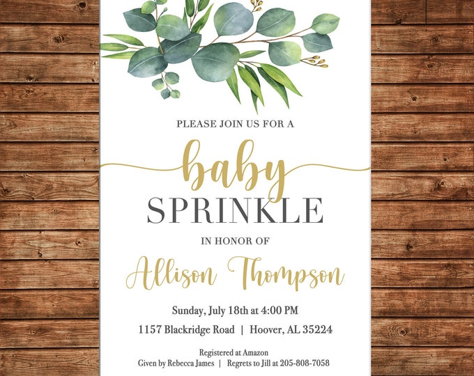 Invitation Watercolor Greenery Baby Wedding Shower Sprinkle  - Can personalize colors /wording - Printable File or Printed Cards