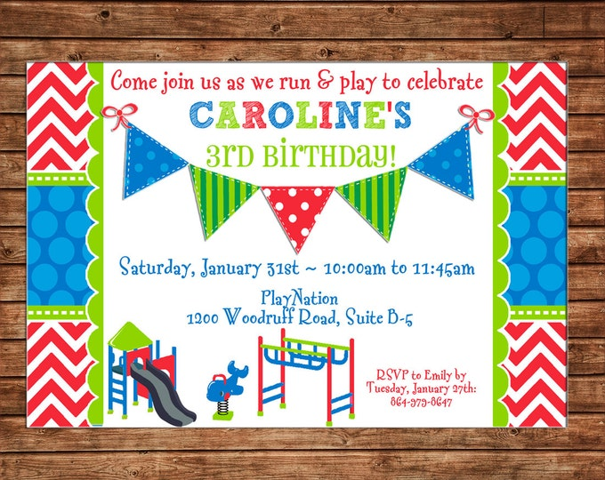 Boy or Girl Invitation Playground Playdate Birthday Party - Can personalize colors /wording - Printable File or Printed Cards