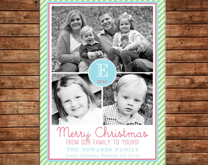 Christmas Holiday Photo Card Mint Coral Turquoise - Can Personalize - Printable File