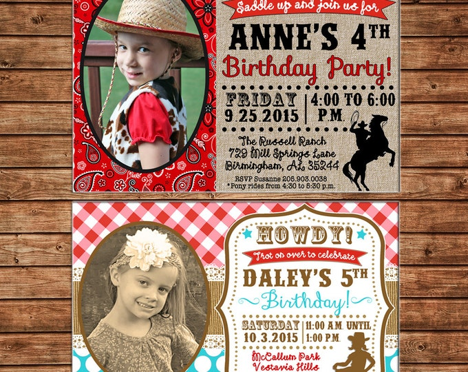 Boy or Girl Invitation Farm Horse Pony Cowboy Cowgirl Birthday Party - Can personalize colors /wording - Printable File or Printed Cards
