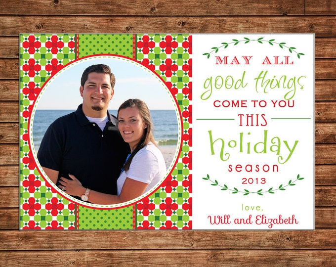 Christmas Holiday Photo Card Typography - Can Personalize - Printable File or Printed Cards