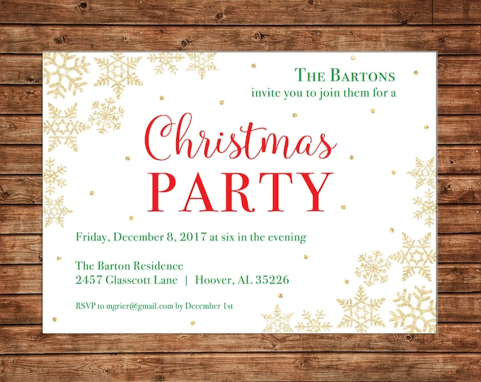 Christmas Gold Glitter Snowflake Corporate Company Party Invitation - Can personalize colors /wording - Printable File or Printed Cards