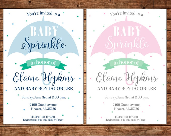 Baby Boy or Girl Sprinkle Umbrella Shower Party - Can personalize colors /wording - Printable File or Printed Cards
