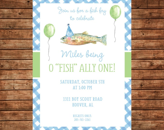 Boy Invitation Watercolor Fish Fishing Birthday Party - Can personalize colors /wording - Printable File or Printed Cards