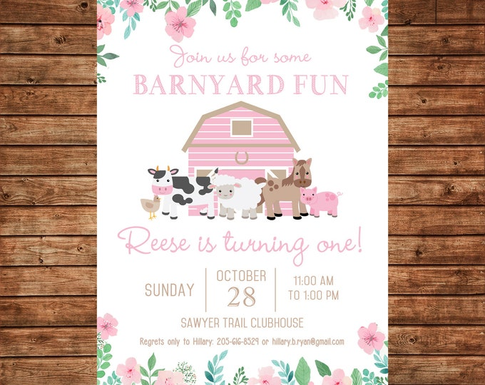 Girl Invitation Pink Barnyard Barn Petting Zoo Farm Birthday Party - Can personalize colors /wording - Printable File or Printed Cards