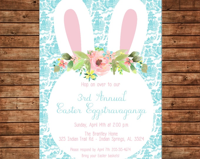 Invitation Watercolor Bunny Rabbit Easter Spring Party Birthday Shower - Can personalize colors /wording - Printable File or Printed Cards