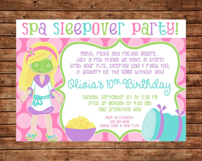 Girl Invitation Manicures Pedicures Sleepover Spa Birthday Party - Can personalize colors /wording - Printable File or Printed Cards
