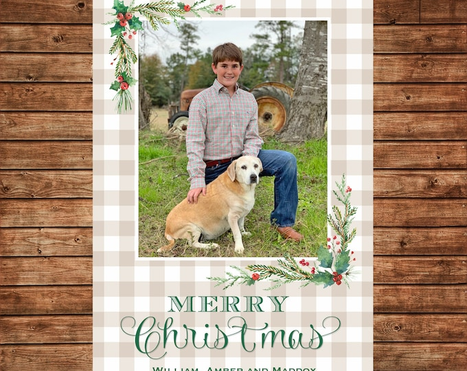 Christmas Holiday Photo Card Buffalo Check Watercolor Greenery - Can Personalize - Printable File or Printed Cards