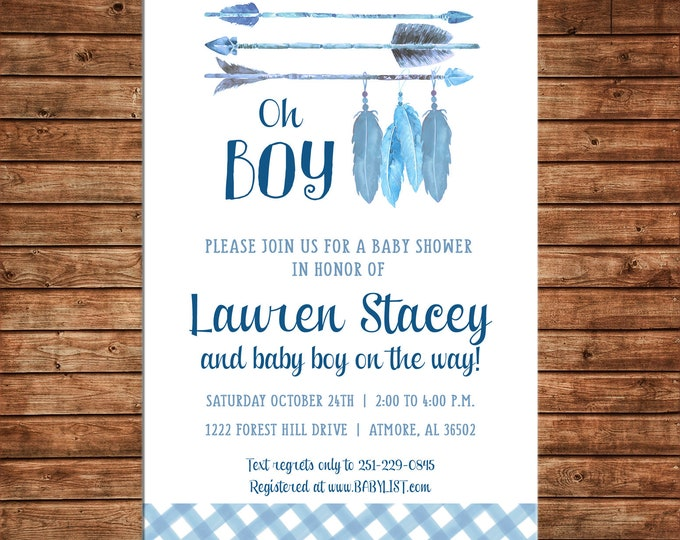 Invitation Tribal Arrow Oh Boy Watercolor Feathers Baby Shower Party - Can personalize colors /wording - Printable File or Printed Cards