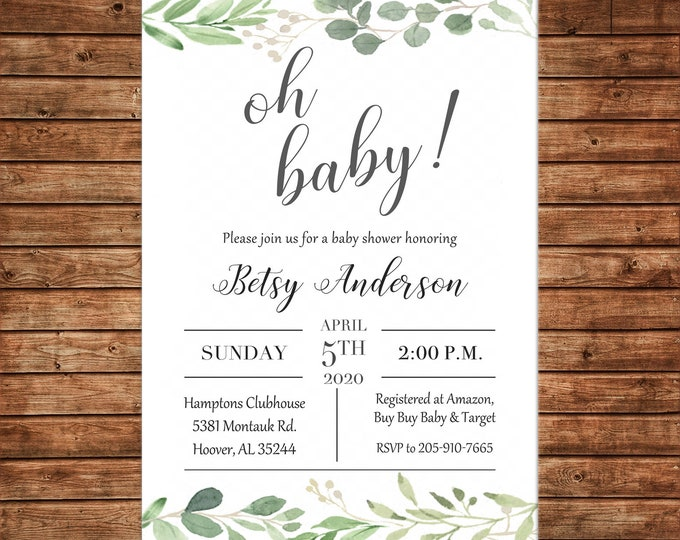 Baby Shower Invitation Watercolor Greenery Oh Baby Shower  - Can personalize colors /wording - Printable File or Printed Cards