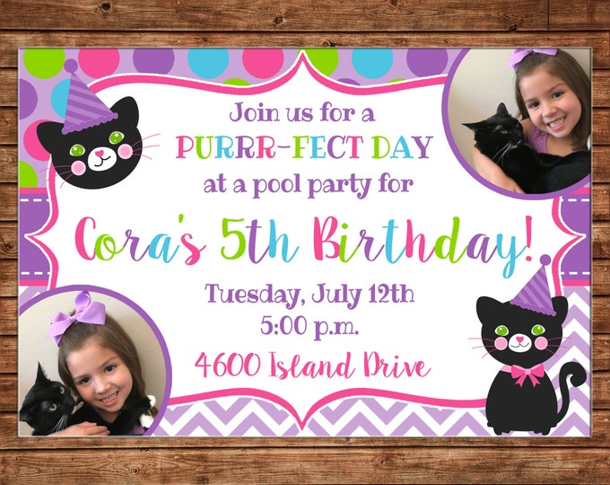 Girl Photo Invitation Kitty Cat Kitten Birthday Party - Can personalize colors /wording - Printable File or Printed Cards