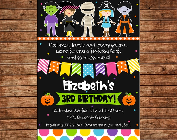 Boy or Girl Invitation Halloween Costume Trick or Treat Birthday Party - Can personalize colors /wording - Printable File or Printed Cards