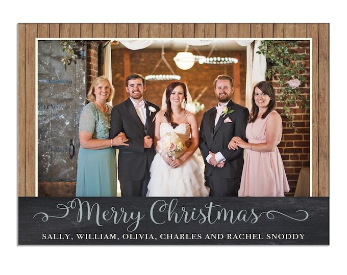 Christmas Holiday Photo Card Shiplap Wood Chalkboard Rustic - Can Personalize - Printable File or Printed Cards