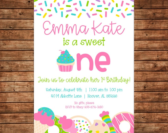 Girl Invitation Sweet One Candy Cupcake Donut Cookies Birthday Party - Can personalize colors /wording - Printable File or Printed Cards