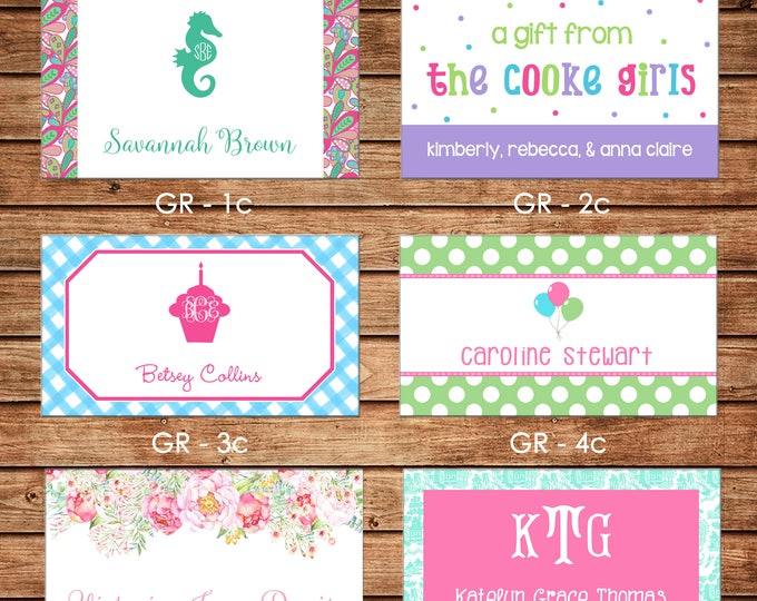 20 Rectangle Personalized Girl Enclosure Cards, Gift Stickers, Gift Tags