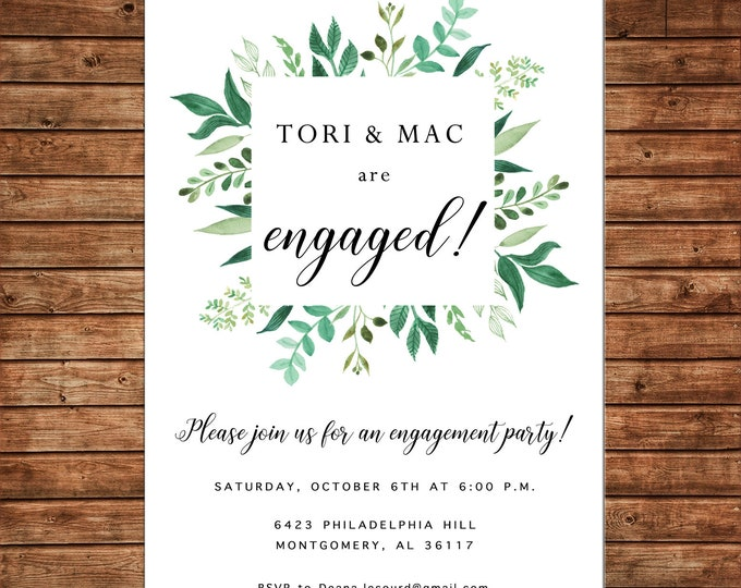 Invitation Watercolor Greenery Wedding Engagement Party Shower  - Can personalize colors /wording - Printable File or Printed Cards