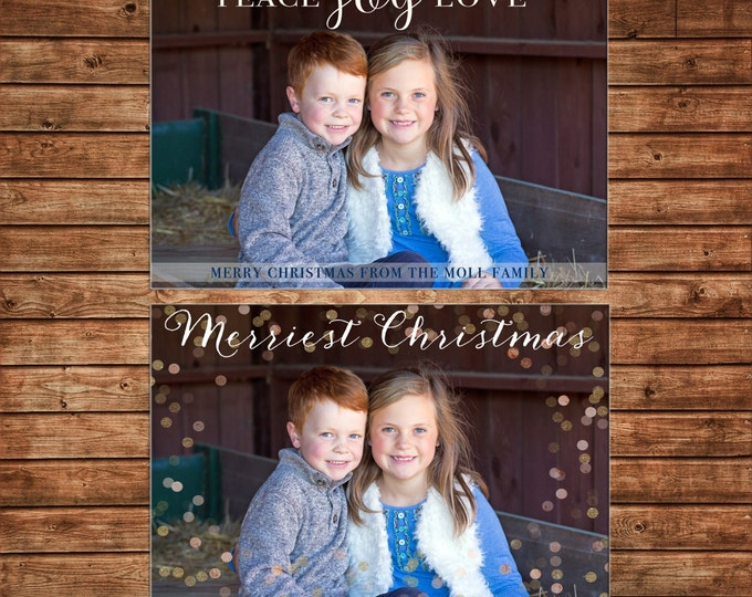 Christmas Holiday Photo Card Peace Love Joy Glitter Confetti - Can Personalize - Printable File or Printed Cards