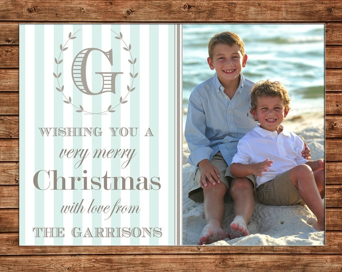 Christmas Holiday Photo Card Mint and Grey Monogram - Can Personalize - Printable File or Printed Cards